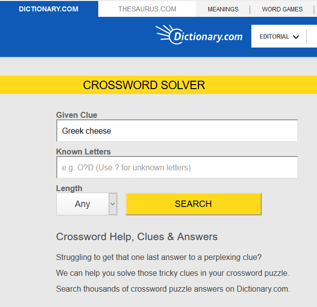 www.dictionary.com crossword solver