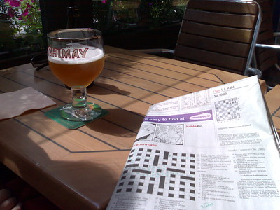 Sun, belgian beer, the Irish Times crossword. Yum.
