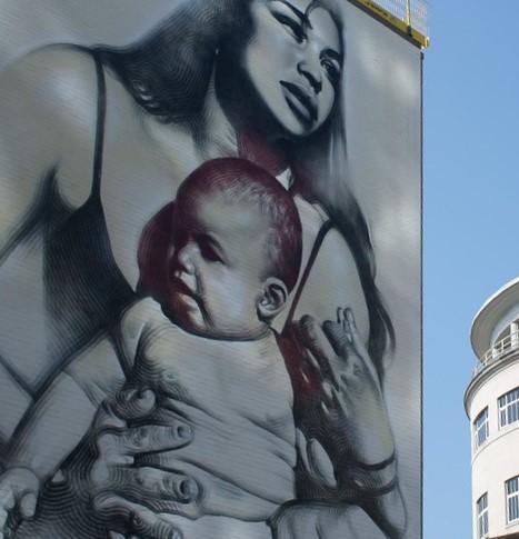 Mother and child - Street Art UK - Bristol - Nelson Street by Sam Saunders