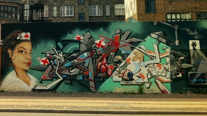 Nurse - Street Art Denmark - Osterbro - by Michael Barrett