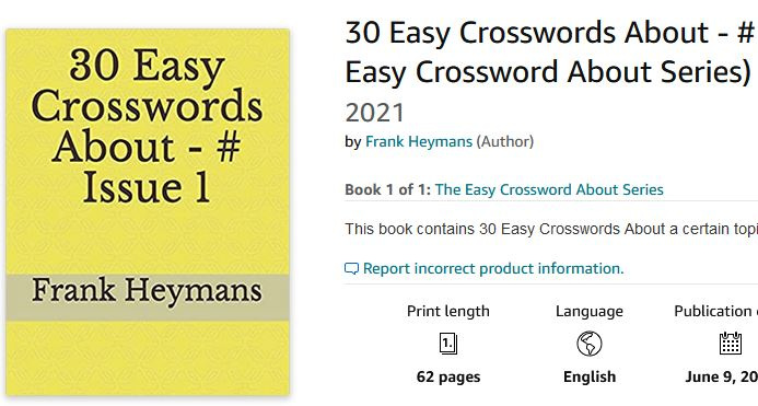 30 Easy Crosswords About - # Issue 1 (The Easy Crossword About Series) Paperback