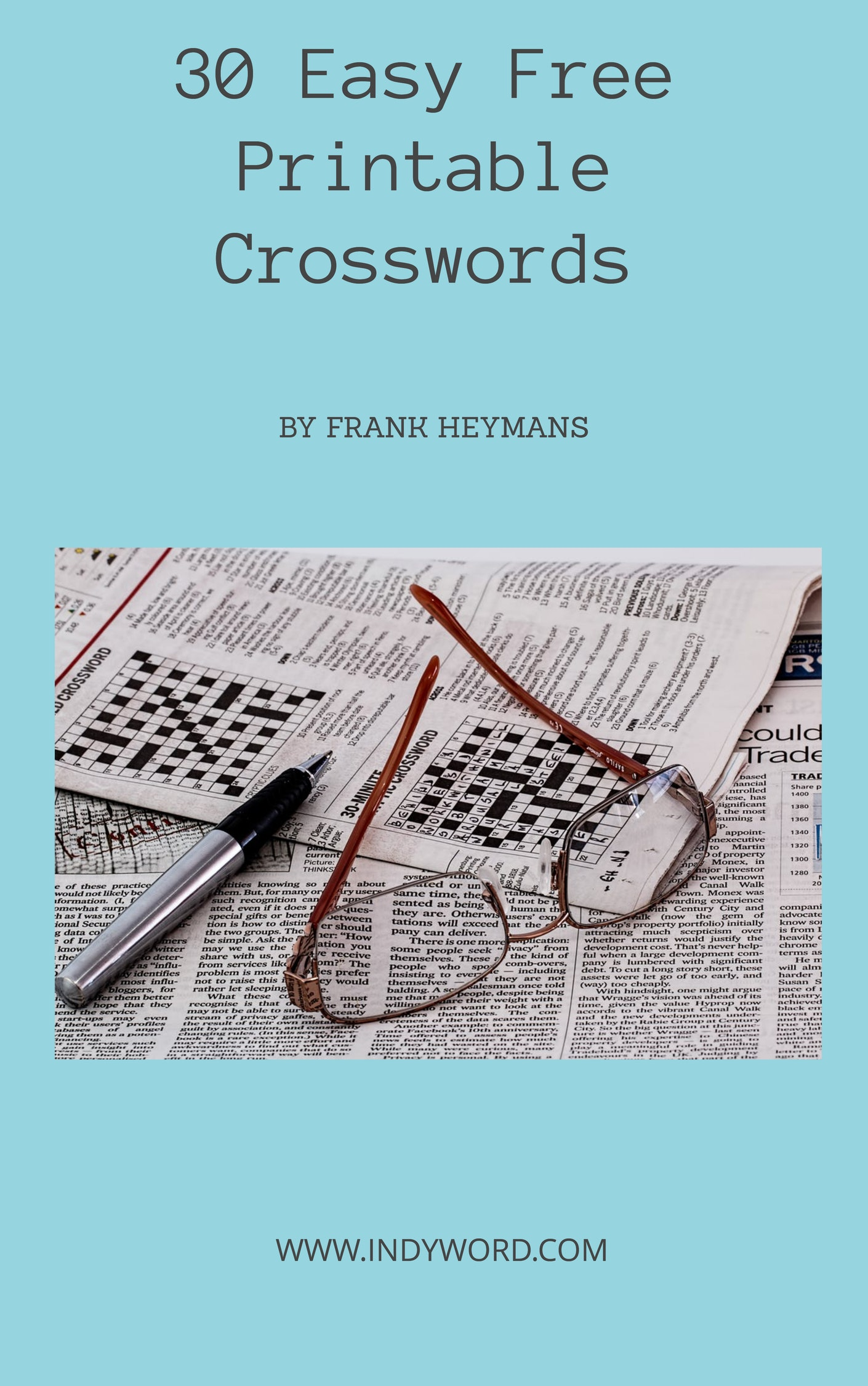 30 Easy Free Printable Crosswords.  The e-book
